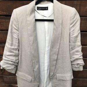 Zara Linen Blazer, with 3/4 sleeves.
